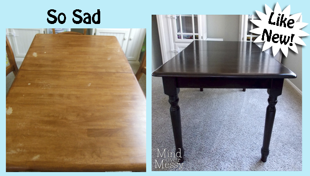 DIY Espresso Stain Table Makeover Mind Over Messy - How to stain a coffee table