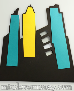 """Cute by day, Light by Night! A great way to add a city scape to your super heroes walls if you do not want to stencil. A """"how to"""" for battery operated LED lights included."""